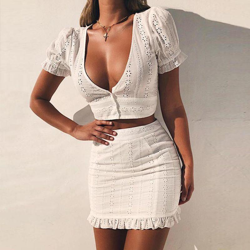 2cf2d852dfb 2019 Efinny White Two Pieces Set Women Solid Tight Crop Top Sexy Package  Hip Skirt Women Clothing C19041601 From Shen8407