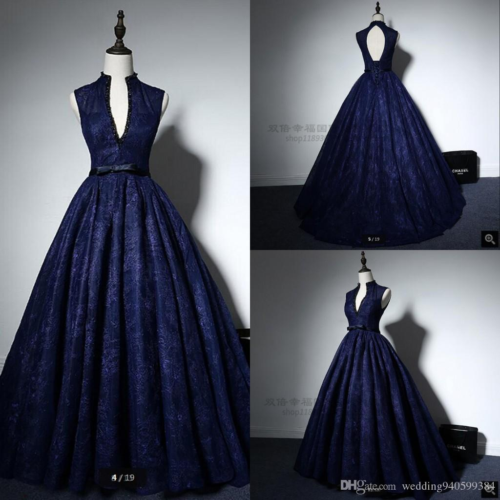 2019 Real picture ball gown navy blue lace high neck prom dress princess beading sheer back sexy sashes elegant prom gowns hot sale