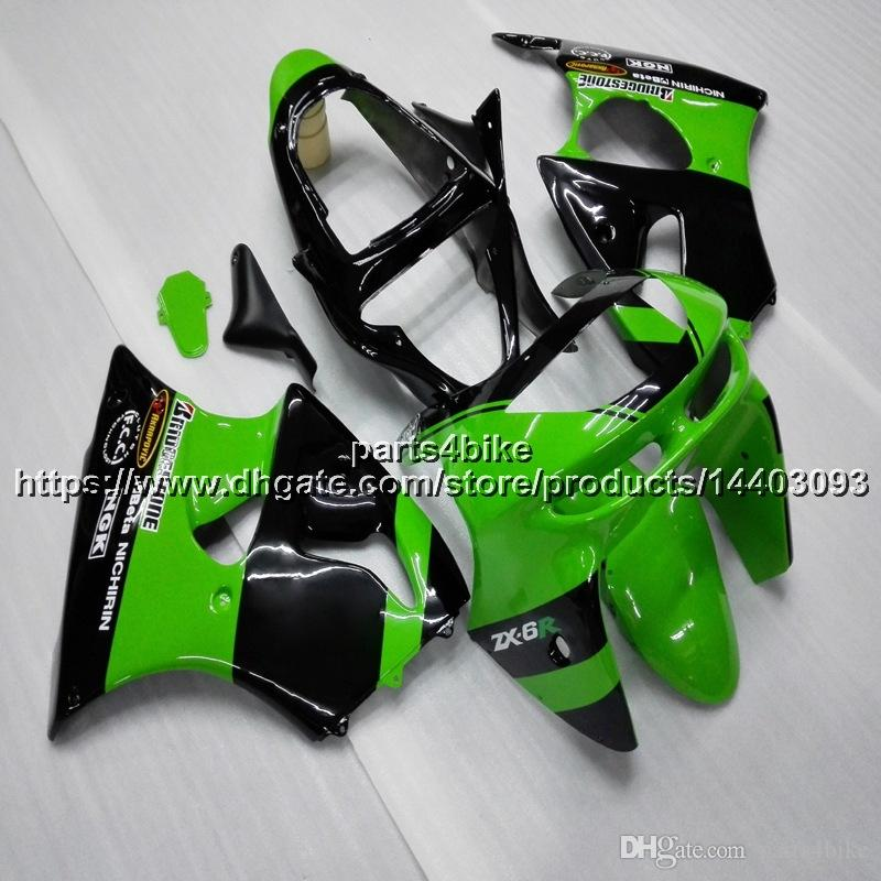 Custom+5Gifts green bodywork motorcycle Fairing For Kawasaki ZX6R 1998-1999 ZX-6R 98 99 Body Kit motorcycle panels