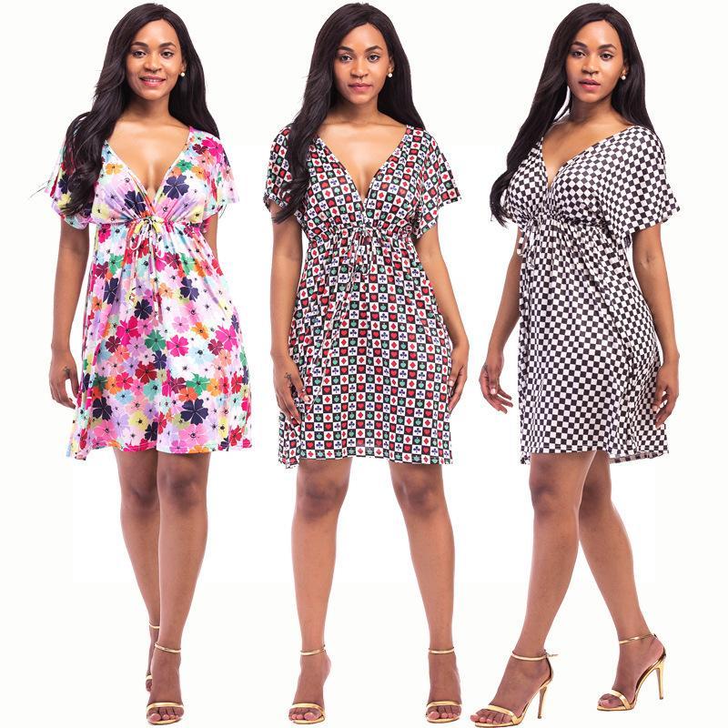 1007bc4fb Compre Vestido De Verano 2019 Casual Mujer Vestido De Playa Con Cuello En V  Impreso Moda Backless Corto Vestido Más El Tamaño De Ropa De Mujer Vestidos  A ...
