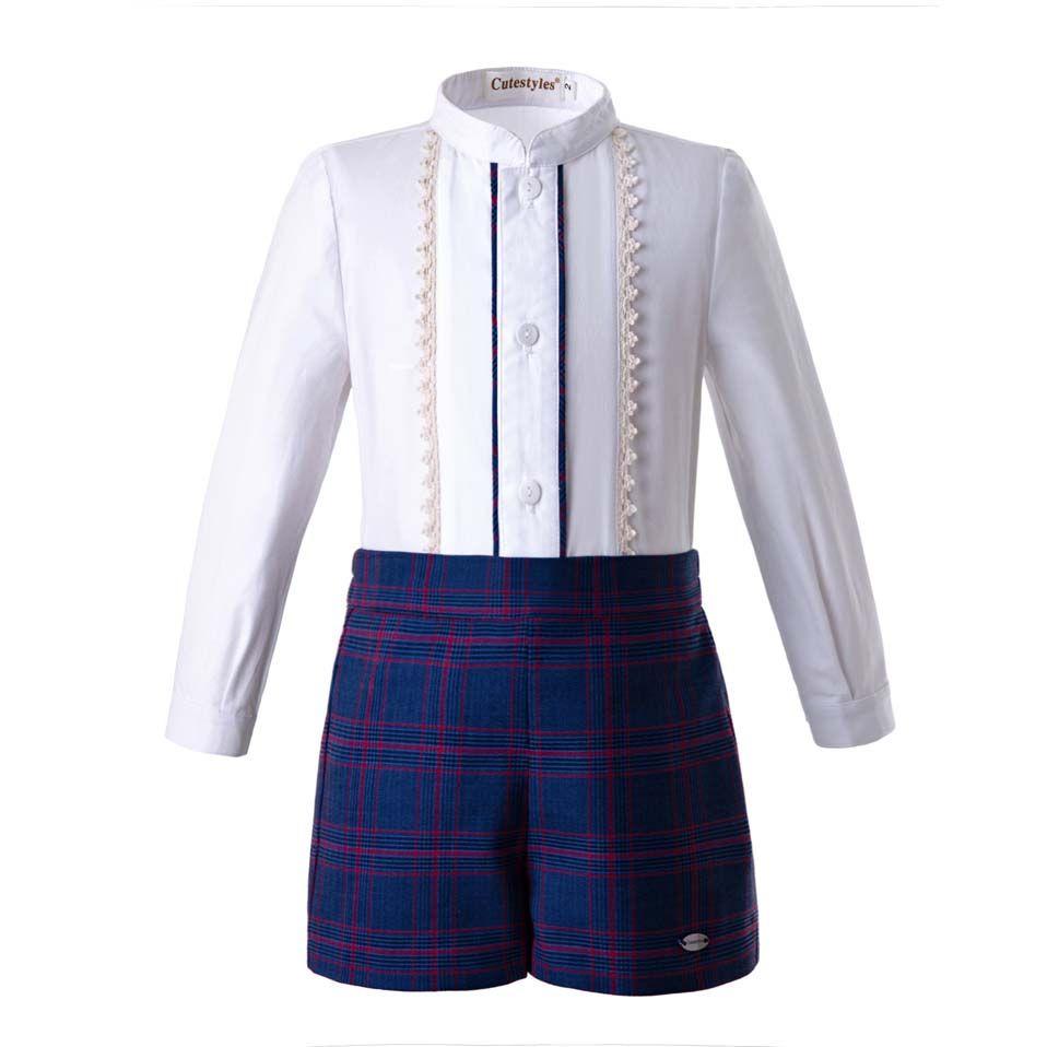 54aef403ed5 Pettigirl Autumn Boys Long Sleeves Clothing Sets White Single Row ...