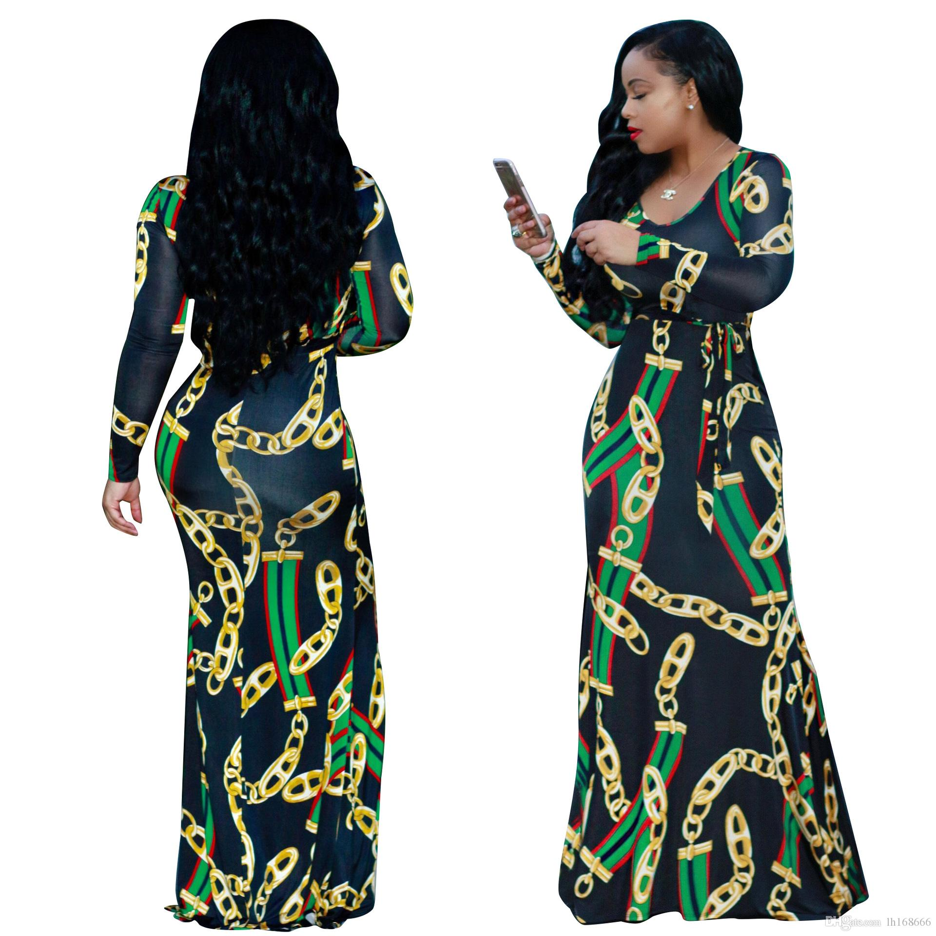 f310ad49021 S XXXL Ladies Red Green Stripe Golden Chains Printed Maxi Dress Woman  Autumn Casual O Neck Long Sleeve Belted Dresses Party Dress Black And Red  Dresses For ...