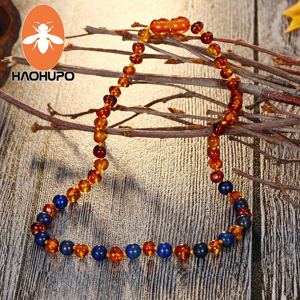 ac9491c55038 Compre HAOHUPO Collar De Ámbar Báltico Collar De Niños Cuarzo Rosa Perlas  Piedras Naturales GIC A  37.56 Del Fashluck