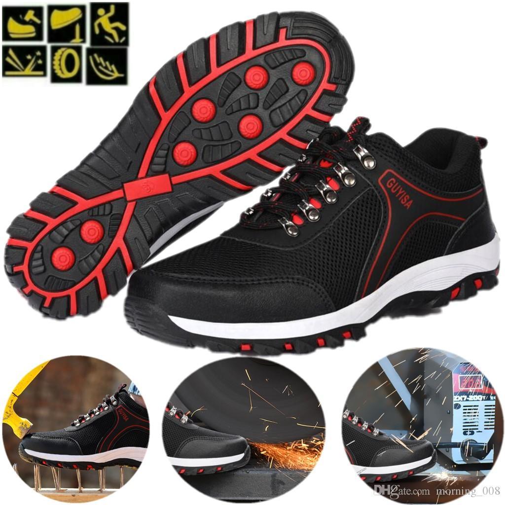 Calzado de seguridad Gorro con punta de acero Deporte Al aire libre Trabajar Sendero Zapatos transpirables Calzado de protección Entrenadores para