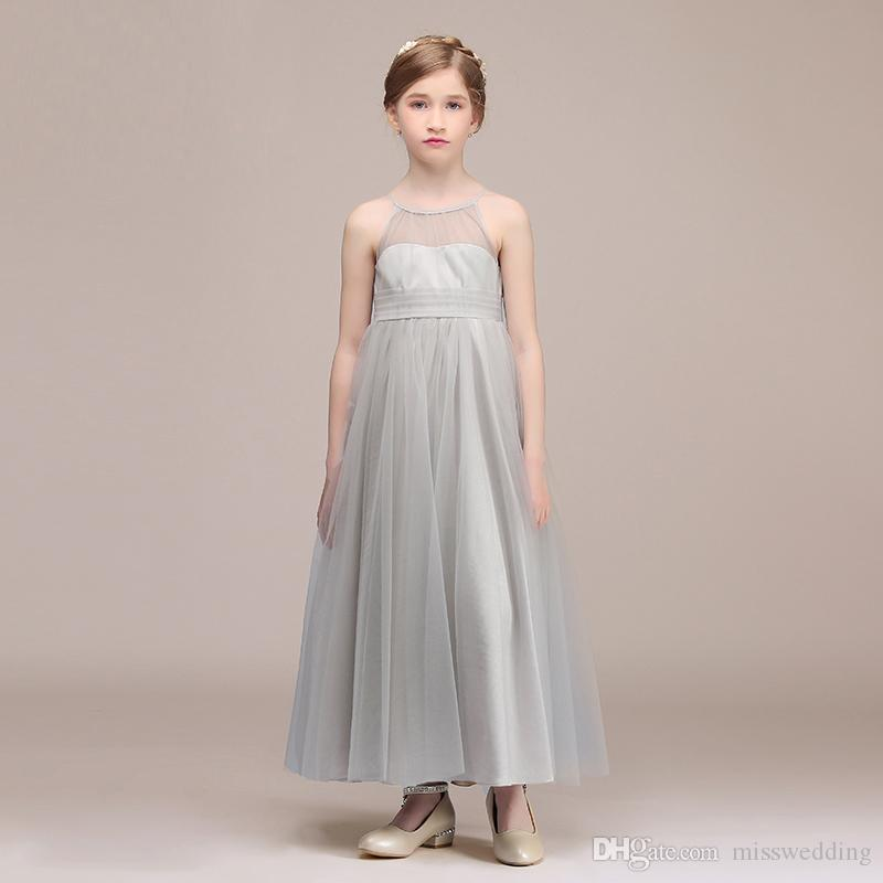 971bfb4d3 2019 New Style Children S Dress Party A Line Light Grey Tulle ...