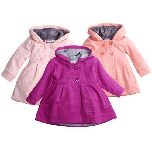 71976373c71c5 Baby Girl Hooded Trench Coat Fall Winter Windbreaker Parka Jacket ...