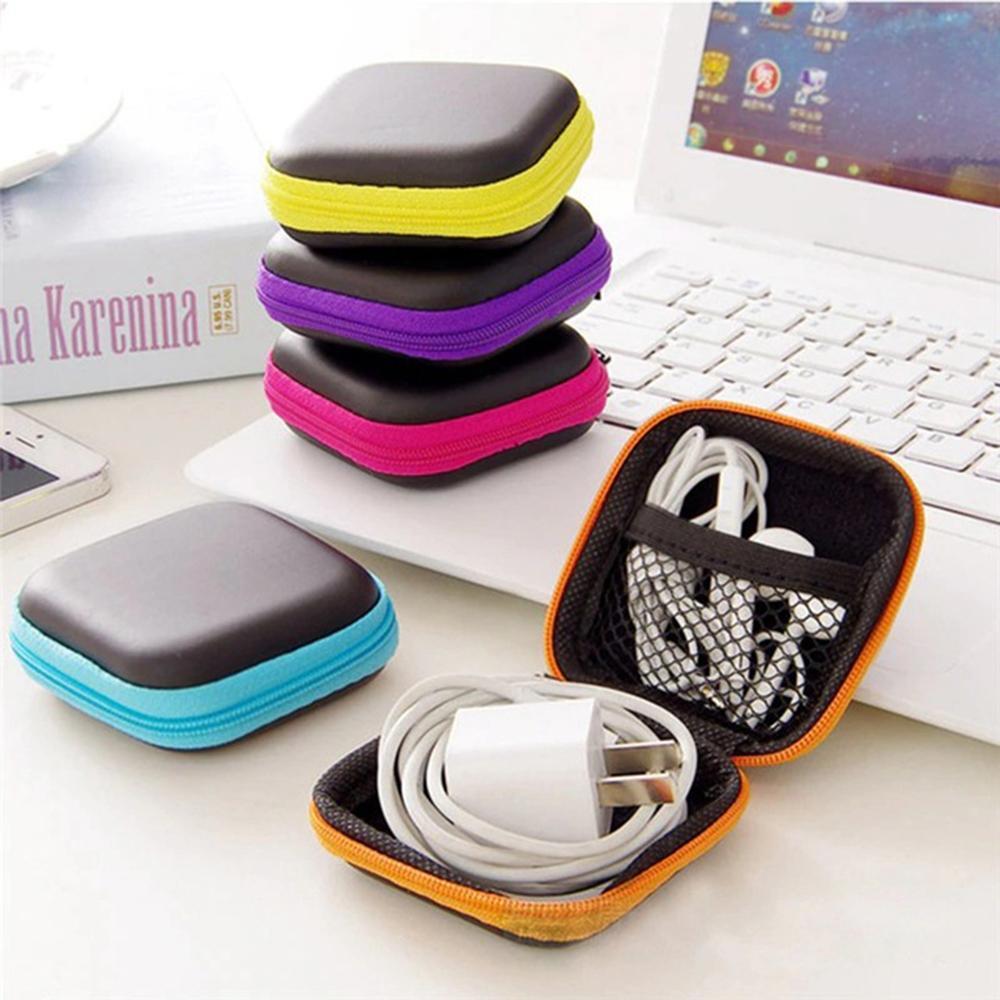 without Earphone New Women Zipper Waterproof Desk Clip Holder Storage Eva Earphone Wire Box Data Line Cables Box 1pc White