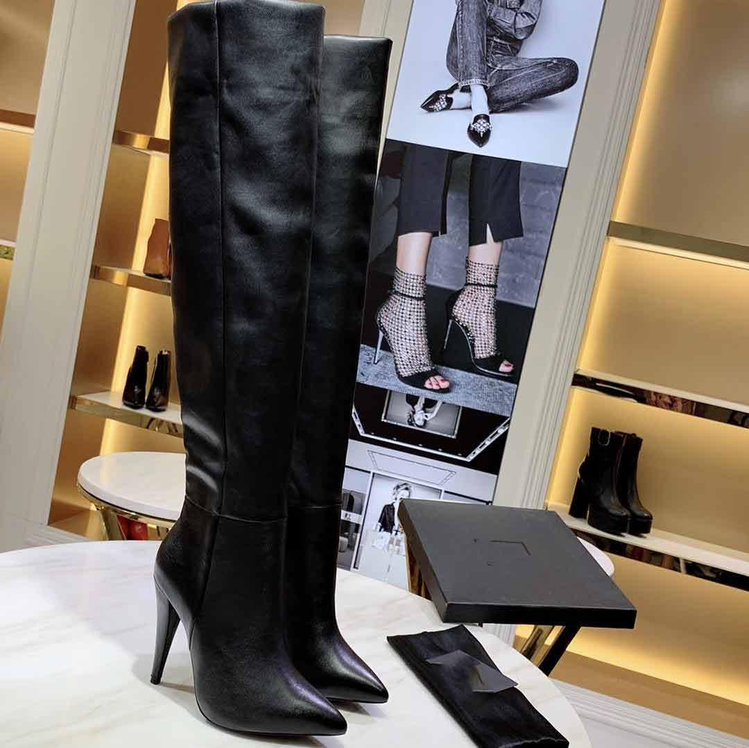 "Hot Sale-Luxury Designer Womens Knight Straight Thigh-High 24"" Heel Pointed Toes Boots Cow Leather Shoes Size 35-40"