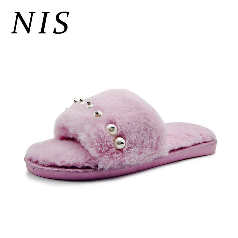 8d303db0f499f NIS Faux Fur Plush Peep Toe Women Slippers Faux Pearl Beads Warm Indoor  Home Winter Slippers Non Slip Floor Flat Shoes Woman New Womens Loafers  Fashion ...