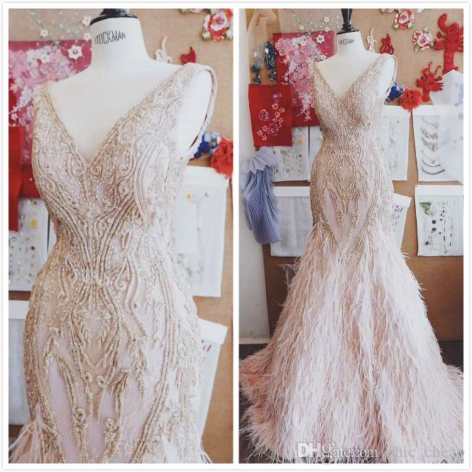 Luxurious Lace Beaded 2019 Arabic Aso Ebi Evening Dresses Deep V-neck Mermaid Prom Dresses Sexy Formal Party Bridesmaid PageantGowns ZJ325