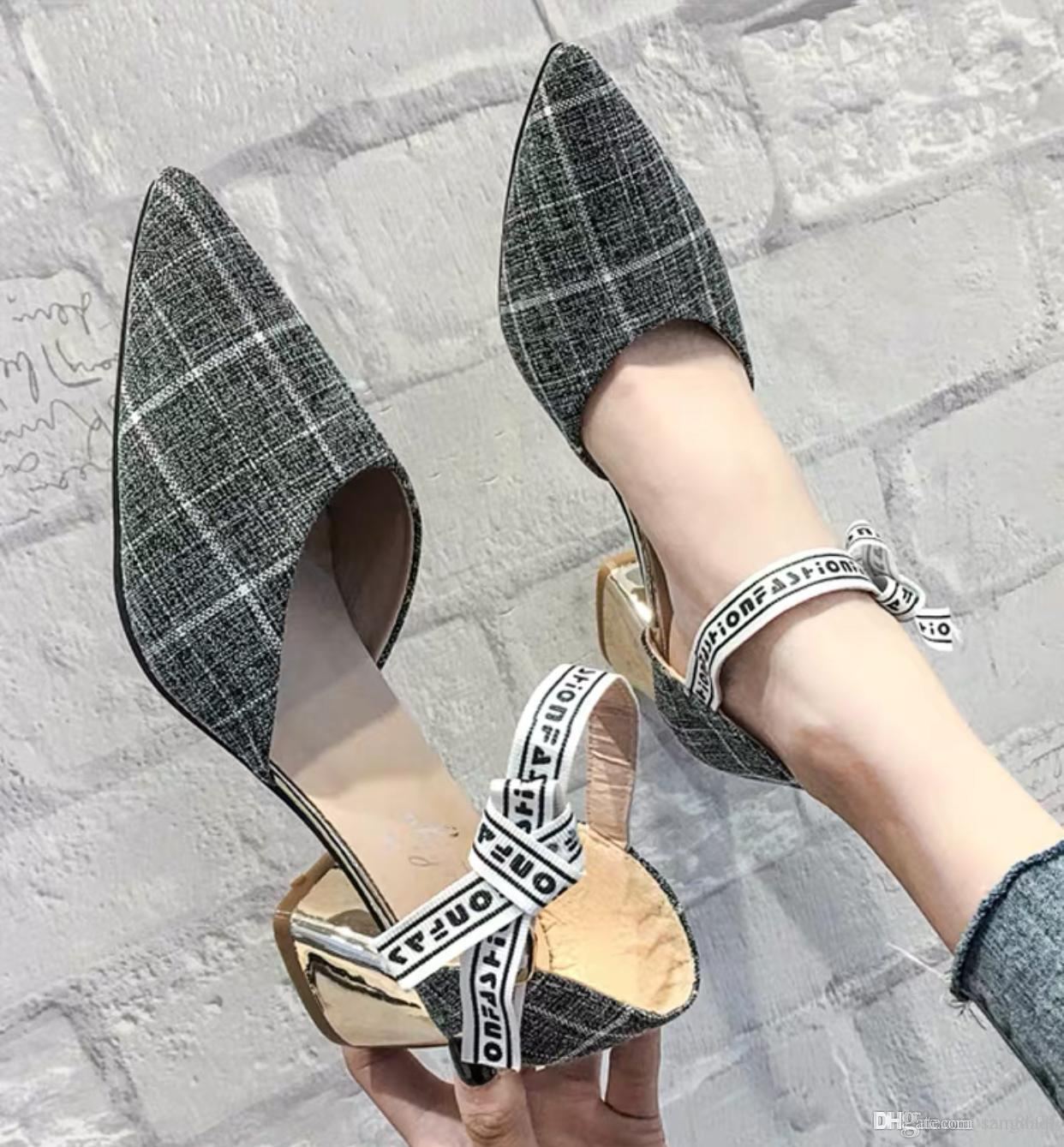 Spring pointed single shoes female 2019 new fairy style catchy girls high-heeled hollow word buckle thick heel sandals