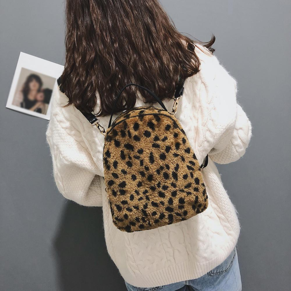 Backpack, casual, sexy leopard Plush Backpack Student Satchel Travel School Crossbody Bag Hand Bag