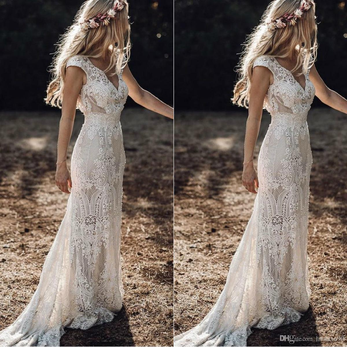 Vintage 2019 Berta Full Lace Mermaid Wedding Dresses V Neck Cap Sleeve Bridal Gowns Bohemian Beach Garden Custom Made vestido de novia