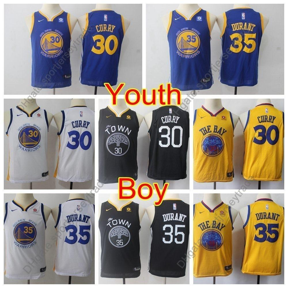 save off 58a28 d46ac 2019 Boys Golden #30 Warriors Stephen Curry Kids Kevin Durant #35  Basketball Jerseys Youth Stephen Curry Top Quality Stitched S-XL