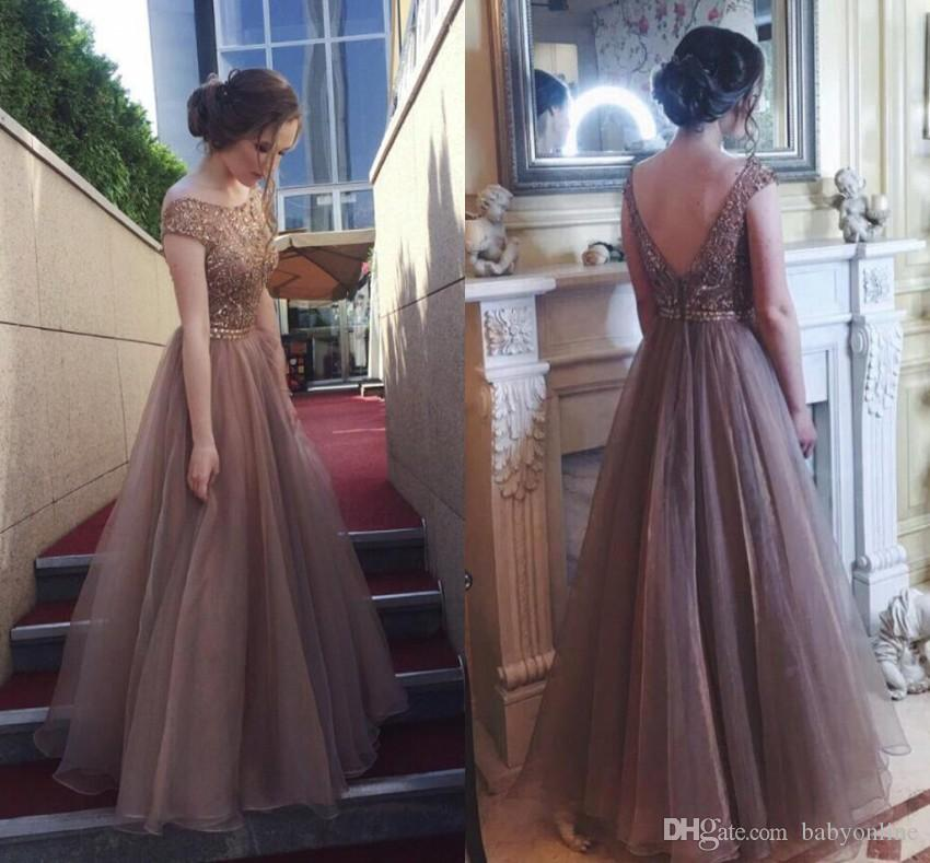 Elegant Beading Puffy Prom Dresses Scoop Neckline Cap Sleeves A Line Evening Gowns Floor Length V Cut Backless Bridesmaid Dress BC0392