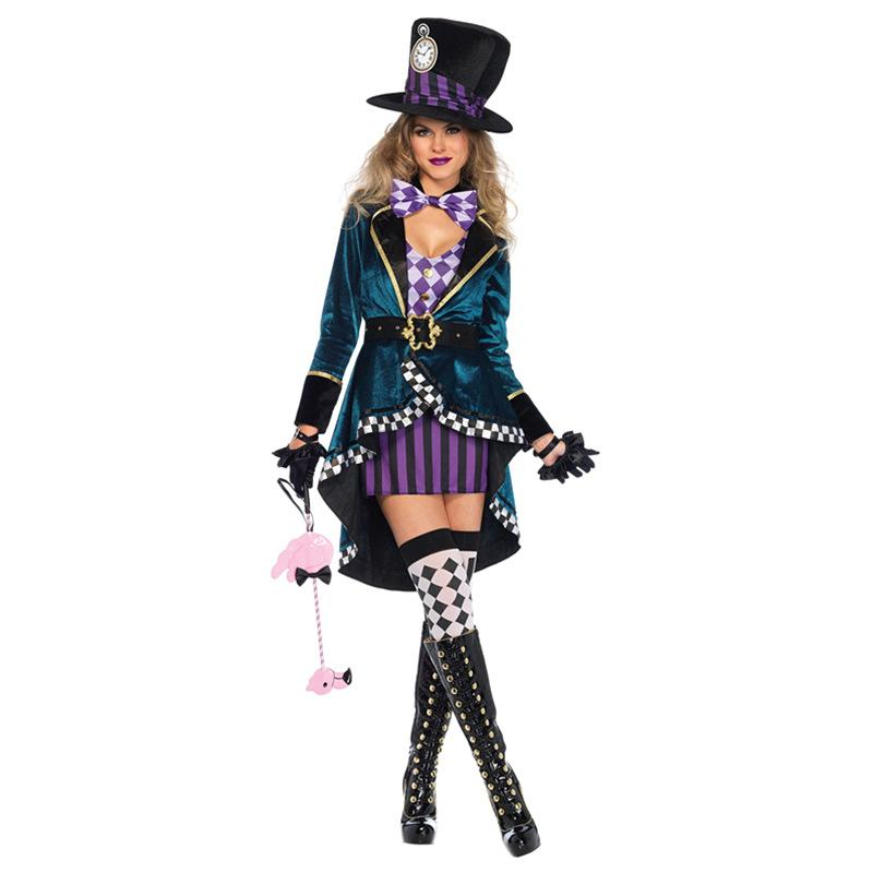 Halloween Mad Hatter Cosplay Costume Sexy Women Magician Dress Magic Show Coat Elegant Masquerade Party Princess Queen Dress
