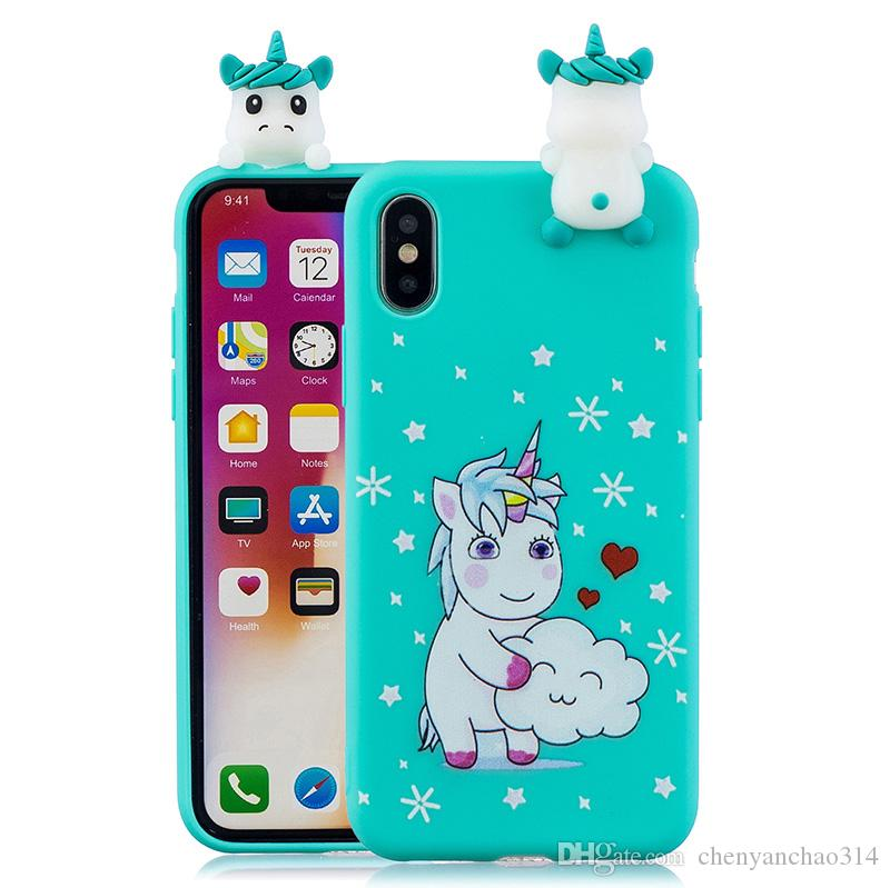 3D Cute cartoon doll unicorn dog cat silicone case for Iphone X cases soft tpu back cover fundas hoesje coque etui kryt tok