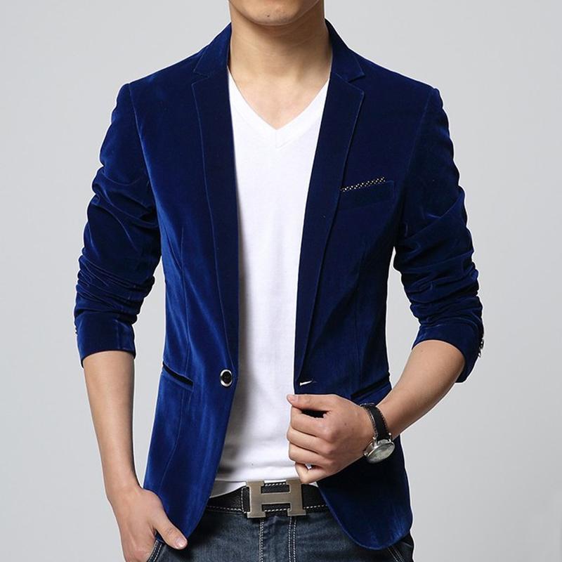 908a05228c4c Compre Blazer Masculino Preto Azul Marinho De Veludo Homens Blazer Slim Fit  Casual Terno Jaqueta Moda Outono Inverno Outwear Casaco Tamanho M 3xl  Y190420 De ...