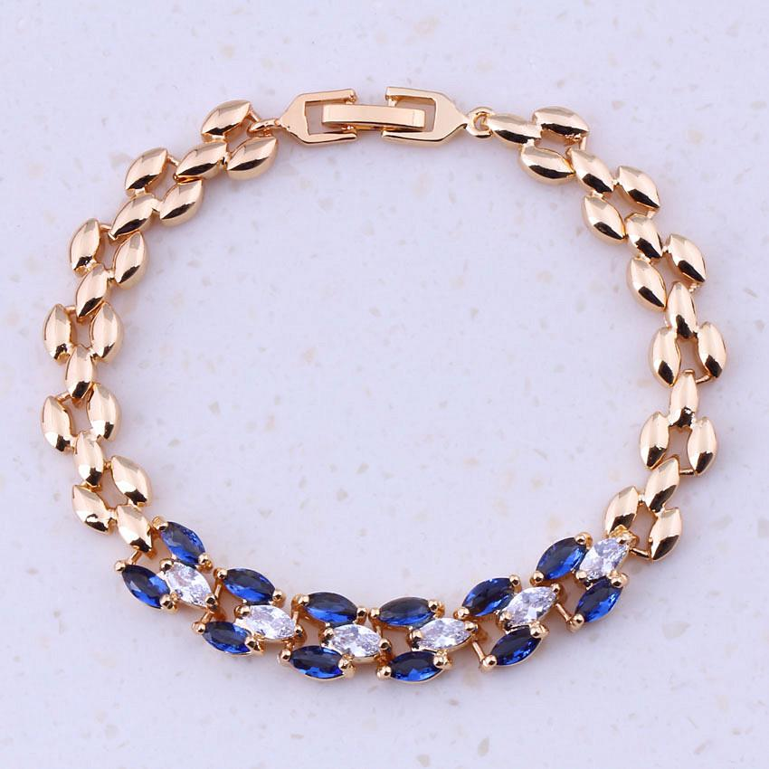 Super Blue Imitation Crystal Cubic Zircon Yellow Gold Color Cheap Charm Bracelets For Women Fashion Free Gift Box I0317