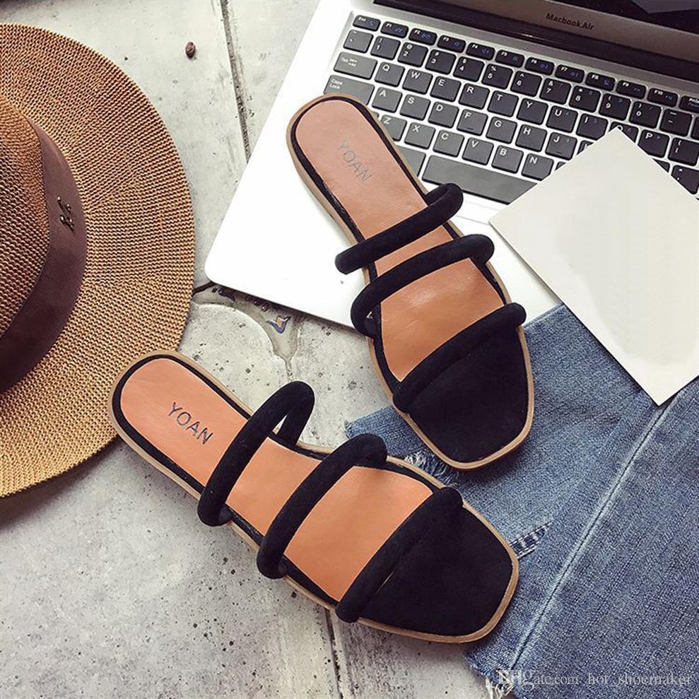 b45db3233a2 Women Solid Color Rome Style Flat Heel Sandals Slipper Beach Shoes 2018  Summer Fashion Leisure Shoes Sandale Femme Ete  10140 Sandals For Men Jelly  Sandals ...