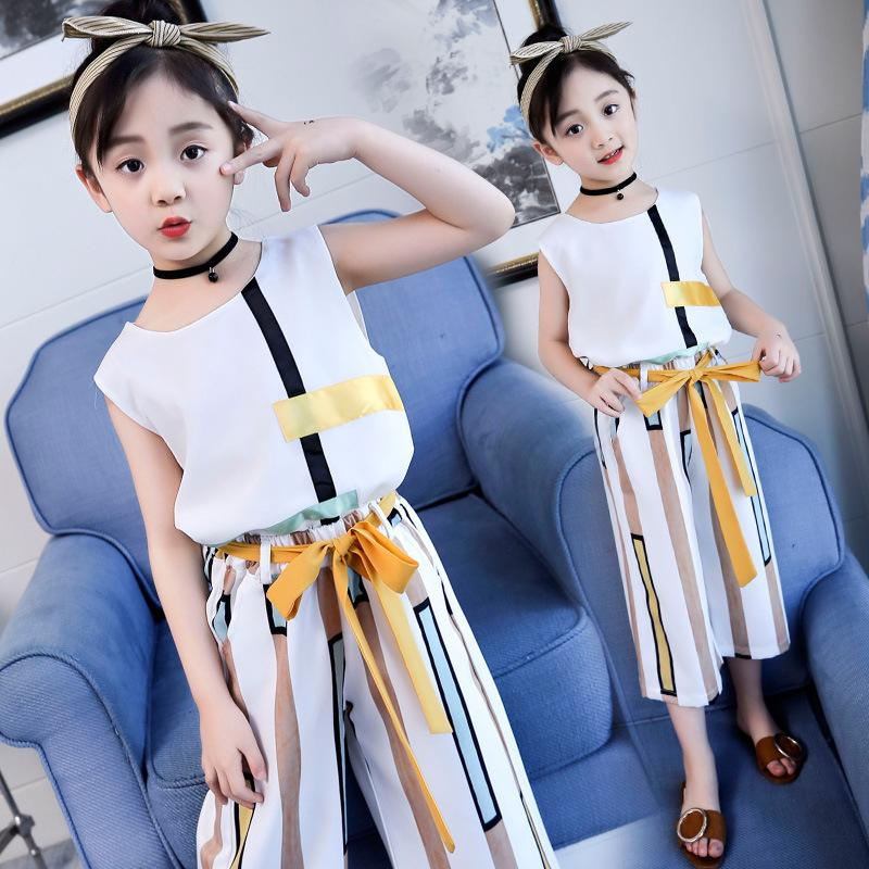 48bff73bd72cf A generation of girls summer dress 2018 new children's clothing summer  children's fashion T-shirt Korean version of the two-piece large