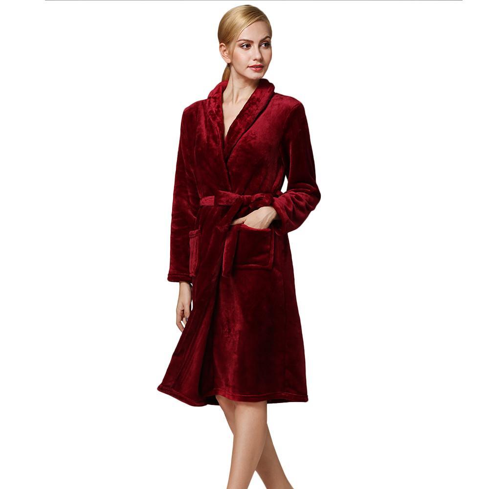 2019 Flannel Warm Long Bathrobe Women Dressing Gown Robe De Chambre ...