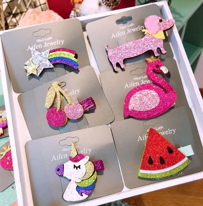 585899433fbc Kids Unicorn Barrettes Baby Girls Rainbow Unicorn Sequin Hair Clips ...
