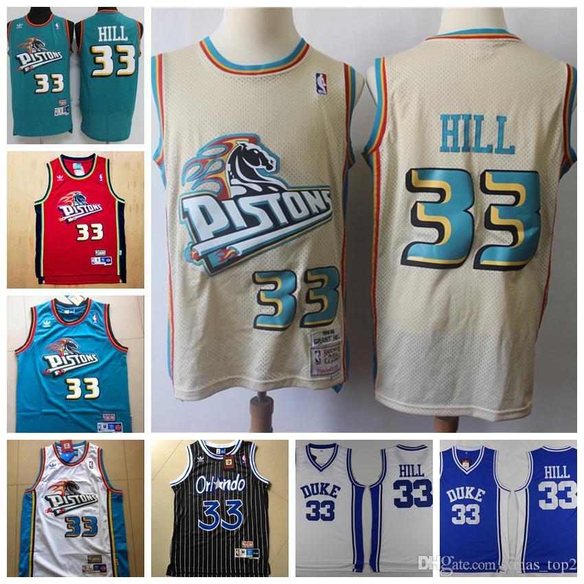 Mitchell Ness Retro Mens 33 Grant Hill Pistons Retro Jerseys Stitched  Hardwood Classic Mesh NCAA Grant Hill Retro Basketball Jerseys Nice Shirts  Wedding ... a016b218e