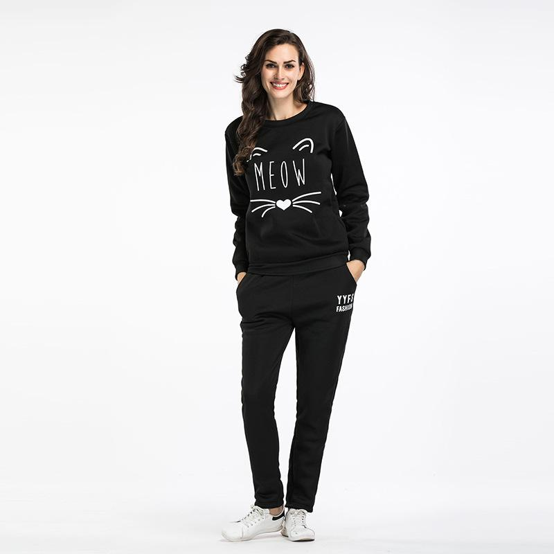 Moda feminina Outono E Inverno Sweat Suit Two Piece Set Top Colheita Hoodies Top + Calça Terno Sportswear