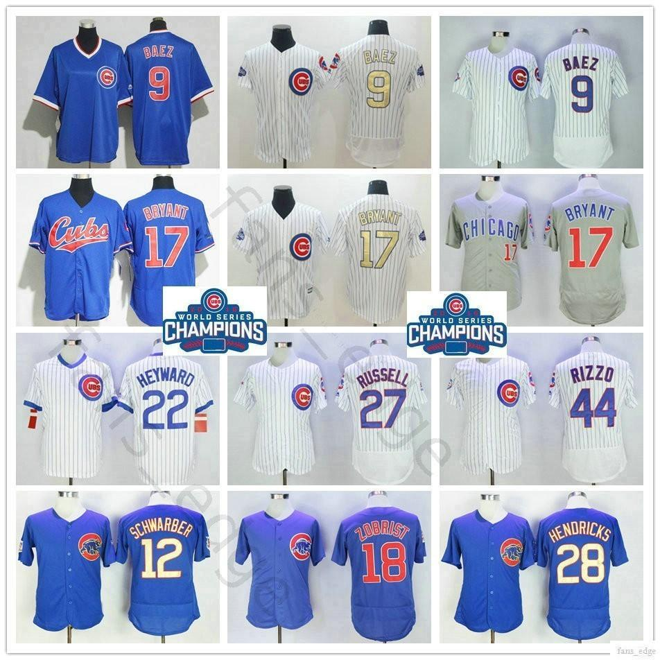 promo code 7f243 f1af3 Chicago #9 Javier Baez Kyle Schwarber 17 Kris Bryant 18 Ben Zobrist Jason  Heyward 27 Addison Russell 44 Anthony Rizzo Cubs Baseball Jersey