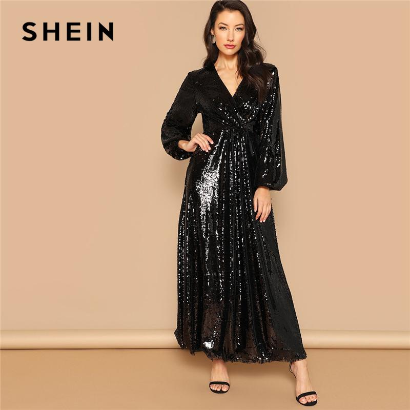 647c5c3910 SHEIN Black Wrap Front Lantern Sleeve Sequin Bishop Sleeve Maxi Dress Women  Autumn Fit And Flare Going Out Casual Dresses Designer Formal Dresses Prom  Dress ...