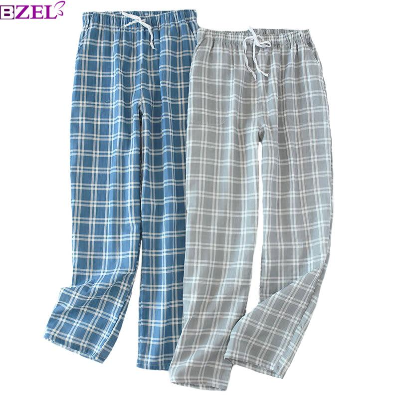 f33bda685d 2019 Spring And Summer New Sleep Pants Men S Gauze Cotton Simple Style Plaid  Trousers Elastic Waistband Full Length Sleep Bottom From Housecoat