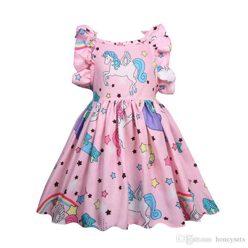 Wholesale Baby Kids Unicorn Pattern Short Sleeve Dress Girls Summer Knee Length Princess Party Star Skirts Children One-Piece Lotuses Sleeve