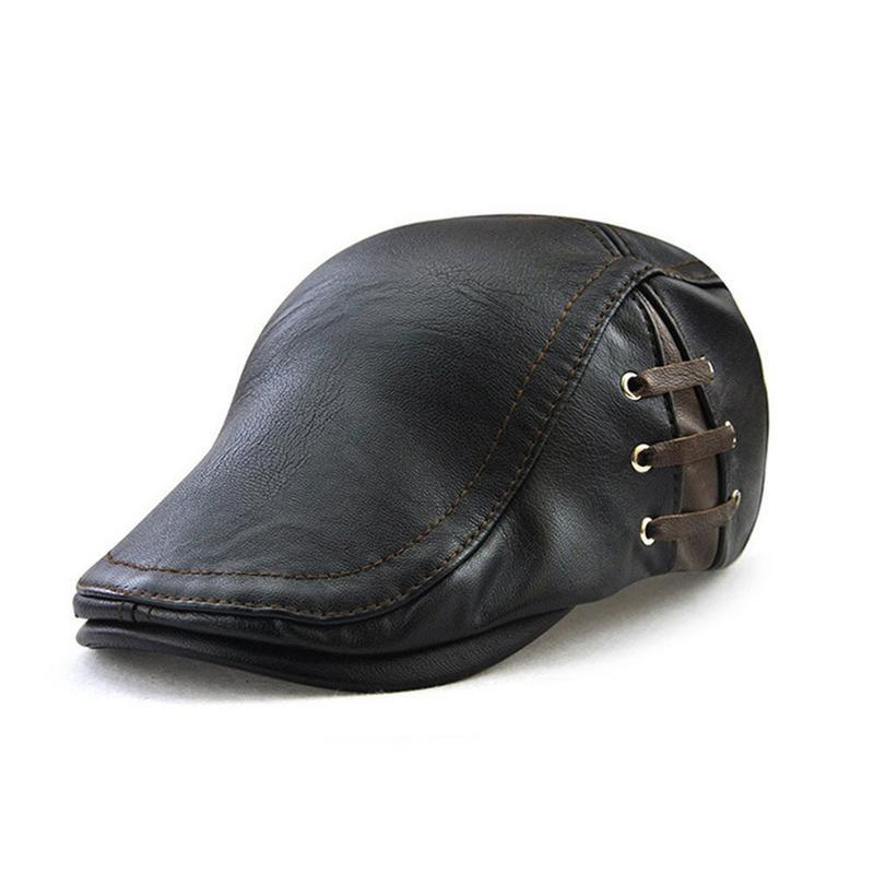 Compre 2019 Nueva Moda De Cuero De Pu De Las Mujeres De Los Hombres De  Boina Gorras Vendaje Ajustable Británico Vintage Boinas Peaked Cap Boina  Hat A  24.68 ... 5b0e804f63dd
