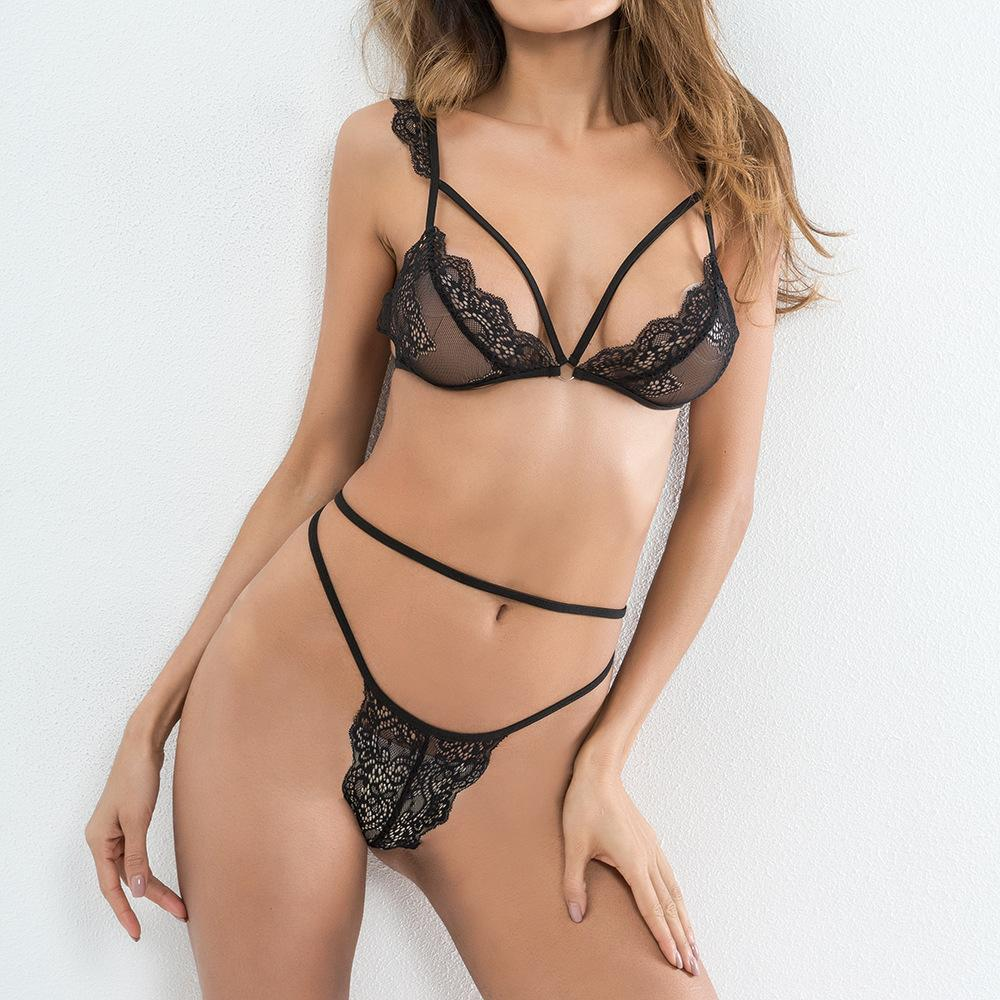 f1028298fd9b 2019 Set Lingerie Lace Sexy Ladies Underwear Set Women Strappy Transparent  See Through Bra G String Panties Ruffles WS3264N From Chongyangclothes, ...