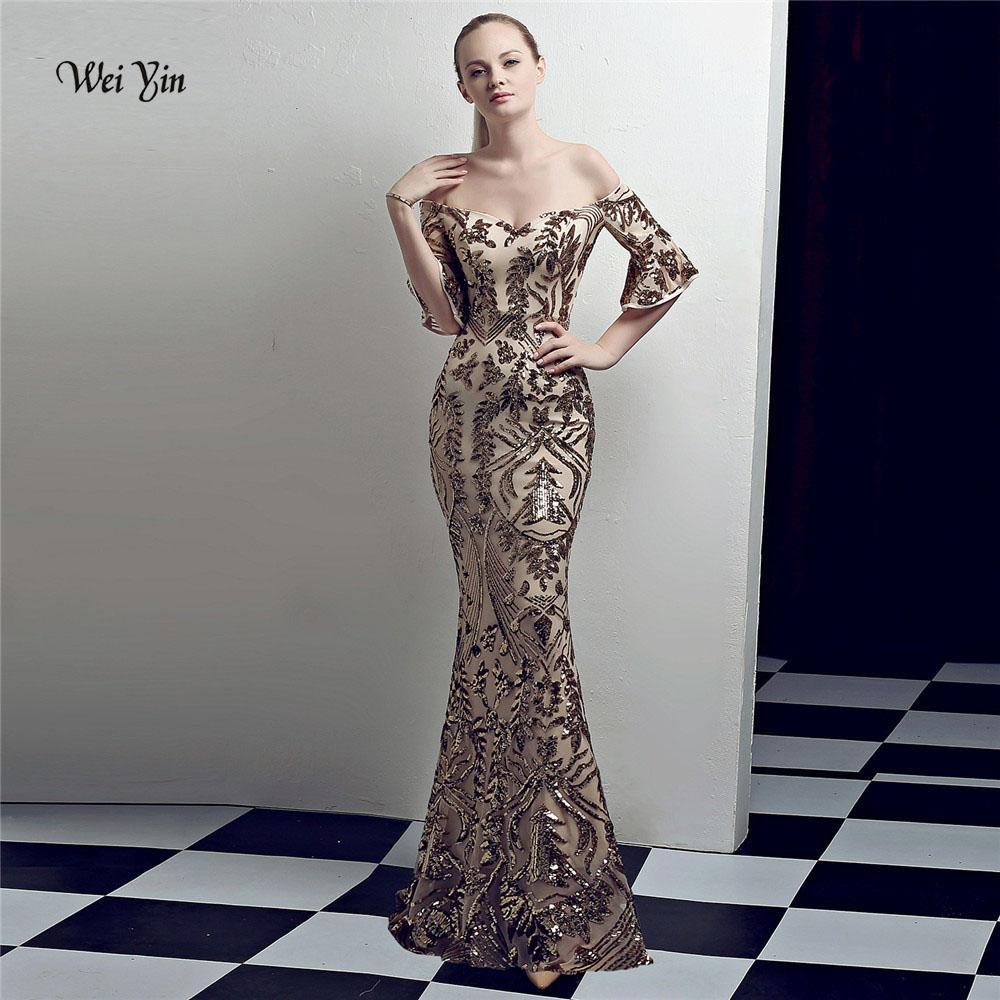 6b5322dbd1 Compre Weiyin Sexy Gold Mermaid Dress Prom 2018 Robe De Soiree Lentejuelas  Vestidos De Noche Con Cuello En V Vestidos De Fiesta Importados Formal  WY1012 A ...