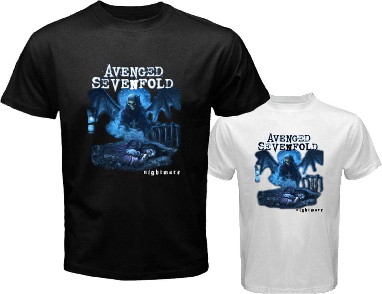 54e93e4d233 Compre Avenged Sevenfold A7X * Pesadilla Rock Band Hombre Blanco ...