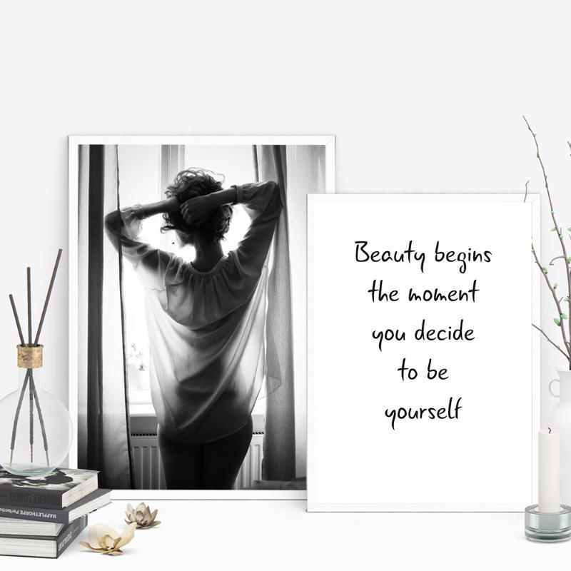 Modular Canvas HD Prints Fashion Girl Inspirational Letter Nordic Pictures Wall Art Painting Home Decoration Posters Framework