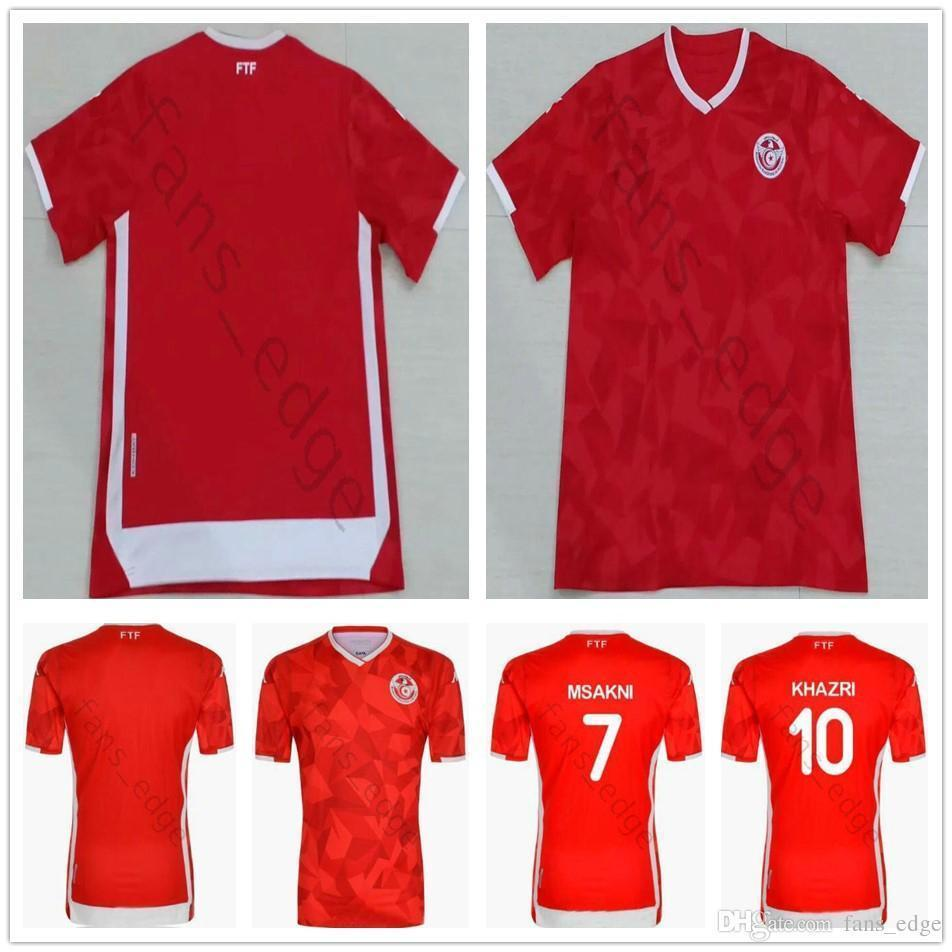 pretty nice f2a62 27dd2 2019 2020 Tunisia Soccer Jerseys 7 Msakni 10 Khazri 23 Sliti Fakhreddine  Ben Yousse Hamza Custom 19 20 Home Red Tunis Football Shirt