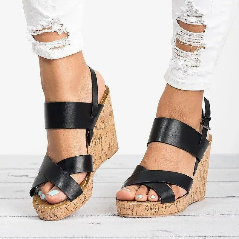 b3ad56573 Gladiator Sandals Platform Women Wedges Shoes Female Summer Ankle Strap  Trifle Open Toe High Black Flip Flops Slipper Size 35 43 Birkenstock Shoes  Brown ...