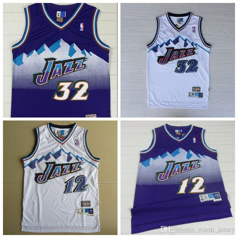 15e32c77095 2019 Men John Stockton Utah Karl Malone Jazz Mitchell   Ness 1996 97  Hardwood Jersey Classics Swingman White New Graphic T Shirt Design Own T  Shirt From ...