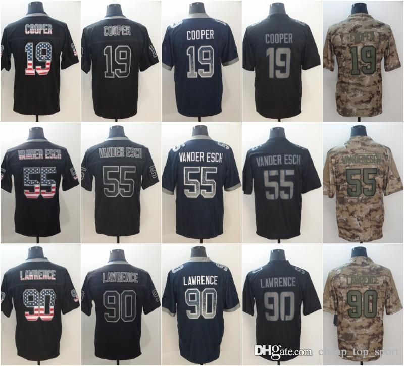 detailed look 067c6 a63c5 Leighton 55 Vander Esch Dallas Jerseys DeMarcus 90Lawrence Cowboys 2018 USA  Flag Fashion Impact Lights out Black Rush Camo Salute to Service