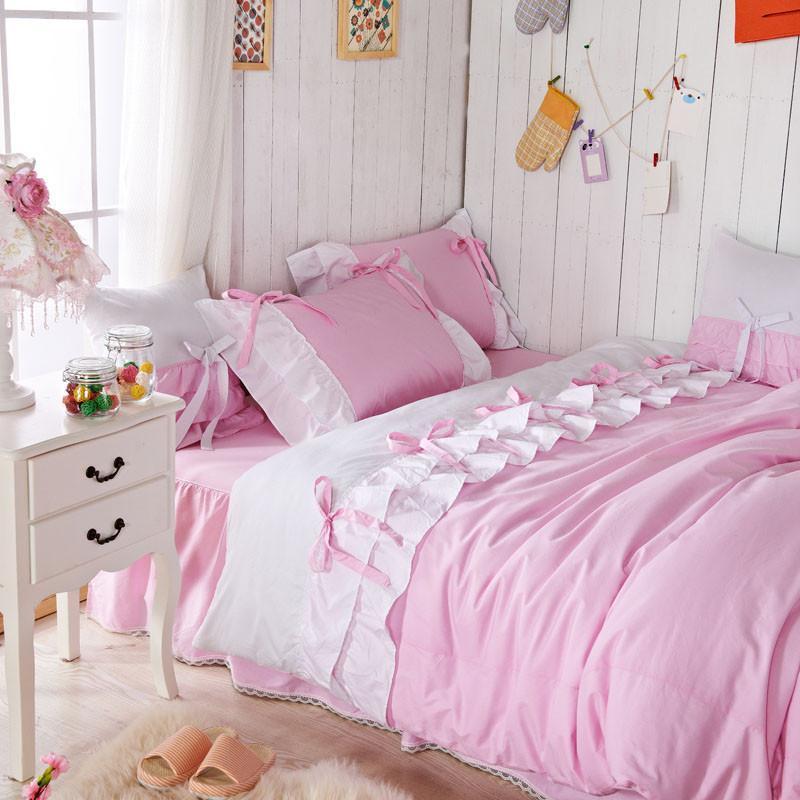 Ensemble de couette romantique rose Reine coréenne rose Falbala à volants  fée housse de couette jumeaux taille filles princesse lit ensemble