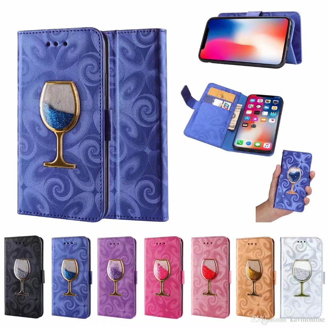 new arrival e4f63 562c1 Wine Glass Style PU Leather Wallet Phone Case for Samsung Galaxy Note 9 8  S8 S9 S6 S7 Edge and iPhone X XR XS Max 8 7 6 Plus
