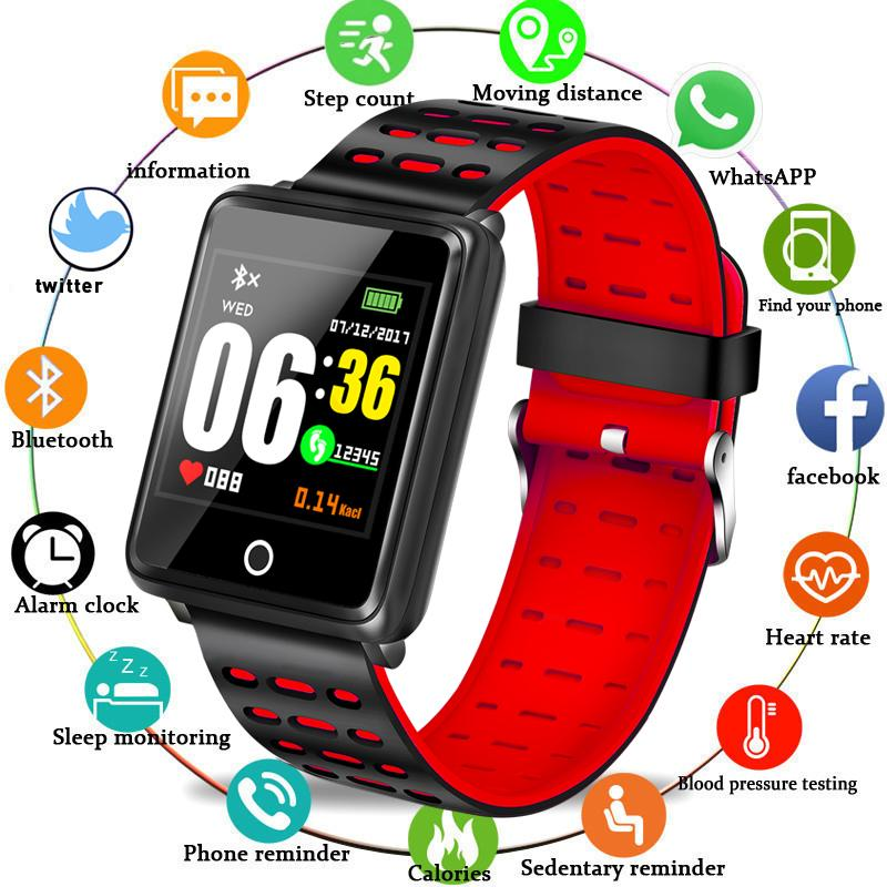 2019 Nuovi uomini Donne Smart Sport Watch Fitness Tracker Pedometro Pressione sanguigna Frequenza cardiaca Monitor di ossigeno nel sangue Smart Band + Box PK Q9