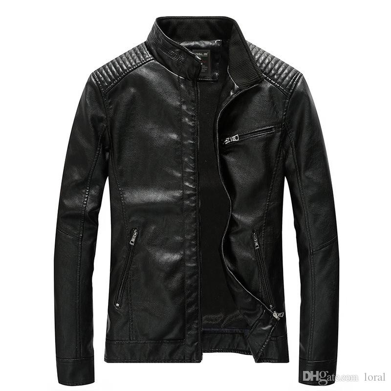 Mens Biker Jacket Leather Jacket Male Winter Coat Casual Punk Style Motorcycle Jacket PU Plus Size Asian M-5XL