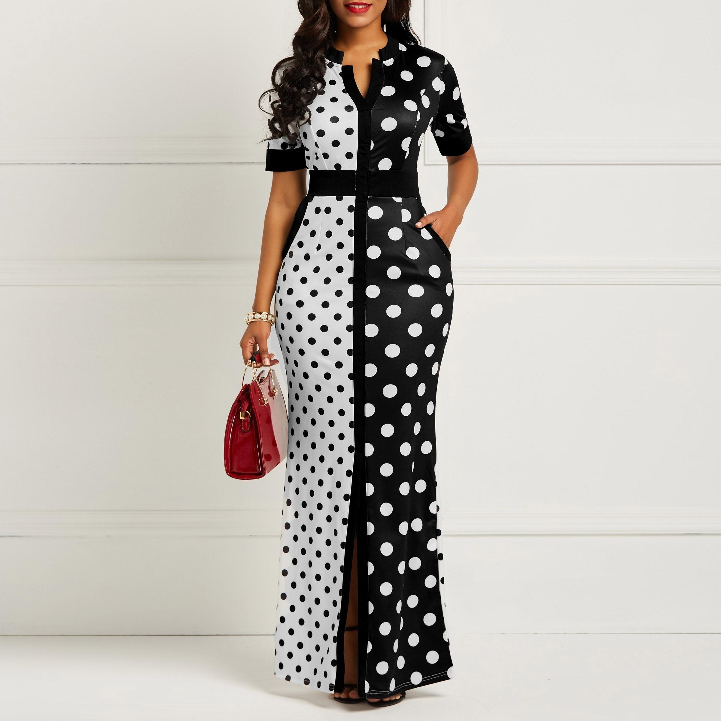 deb0bf89b3f6 Clocolor African Dress Vintage Polka Dot White Black Printed Retro Bodycon  Women Summer Short Sleeve Plus Size Long Maxi Dress Y19021409 Formal  Cocktail ...