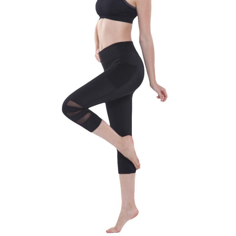 f64f3be49eade Good Stretch Fitness Tights Female Pocket Mesh Short Training Pants  Seamless Tight Trousers