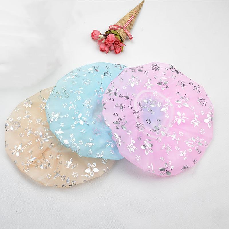 Double Layer Hot Stamping Shower Cap Waterproof Elastic Band Bath Cap Resuable Hair Caps Hat Adult Makeup Hair Cover Shower Caps DBC VT1677