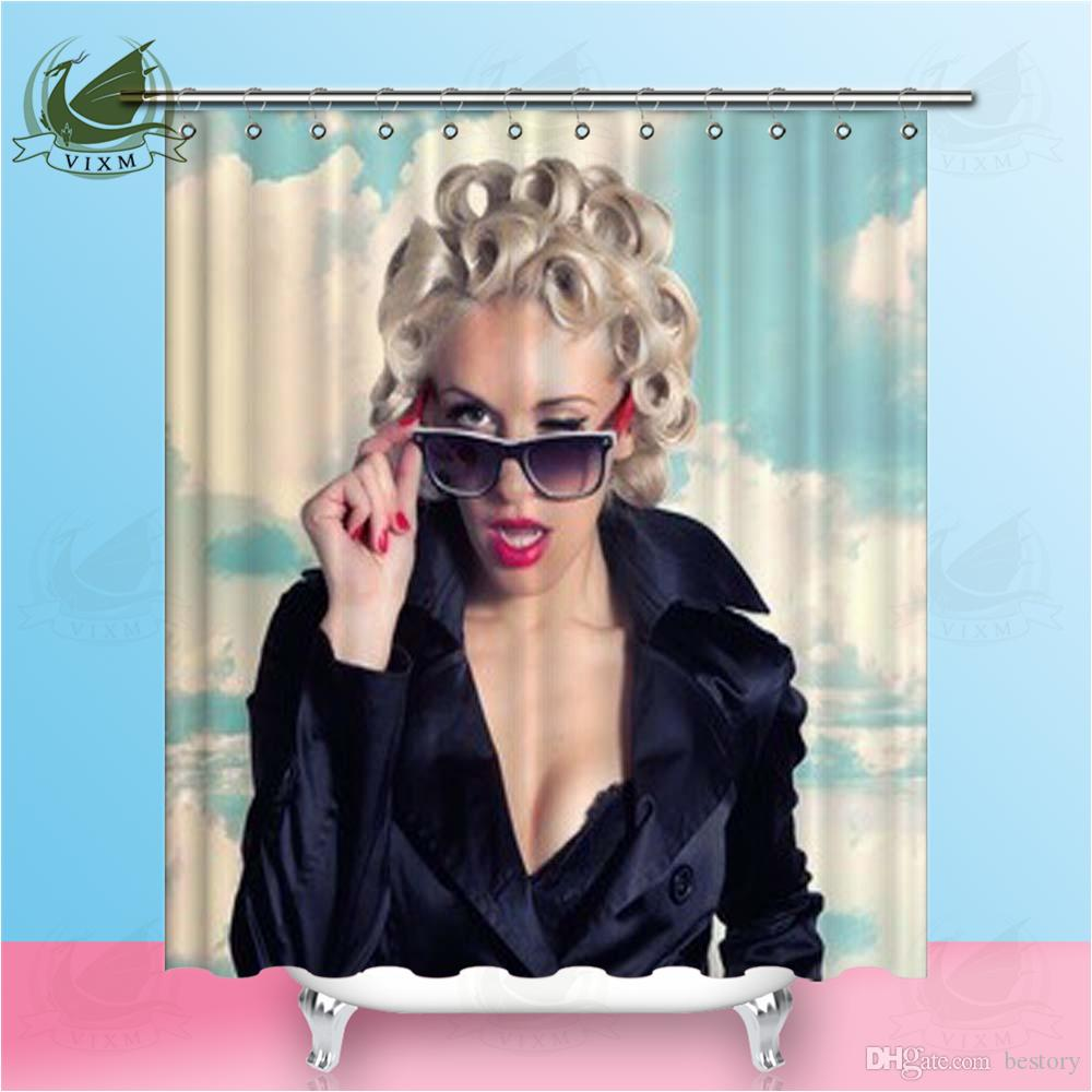 Vixm Sky Background Girl Wearing Black Cloak With Red Lipstick And Sunglasses Shower Curtains Polyester Fabric For Home Decor Sexy